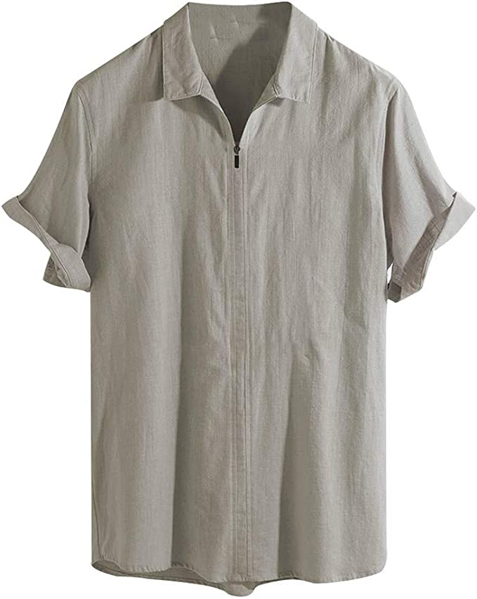 Amazon.com: Mens Cotton and Linen Short Sleeves, Sharemen ...