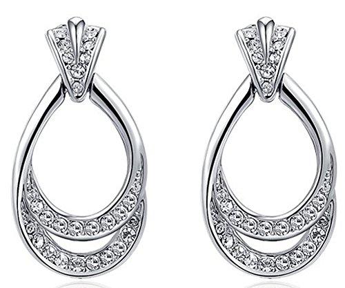 AmaranTeen - Jewelry Platinum double leaf luxury Austrian crystal earrrings