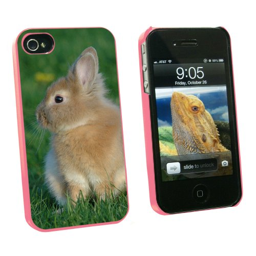 Graphics and More Bunny Rabbit Brown Tan - Easter - Snap On Hard Protective Case for Apple iPhone 4 4S - Pink - Carrying Case - Non-Retail Packaging - Pink