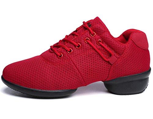 Dadawen Donna Atletica Fitness Jazz Moderno Rockit Traspirante Danza Sneaker Rosso