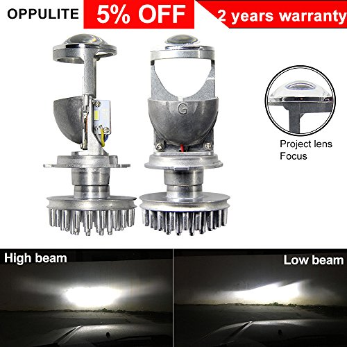 OPPULITE H4 Led Headlight Bulbs With Mini Projector Lens High Low Beam 35W 5500K 8000LM Can Solve The Astigmatism Problem Plug And Play Fanless Led Headlight Conversion Kit For Car-2 Years Warranty