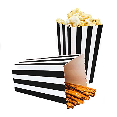 24pcs Striped Paper Popcorn Boxes for Party Favor Supplies (Black) ()