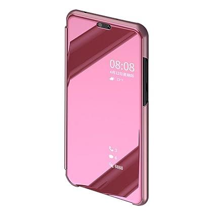 BCIT Huawei P20 Pro Funda - Modelo inteligente Fecha / Hora Ver Espejo Brillante tirón del caso duro Con para el Huawei P20 Pro - Rose Oro