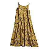 Summer Dresses for Women Maxi Sleeves, Short Dress for Women Casual, Women Casual Long Maxi Sundress Beach Party Boho Floral Print Dress Yellow