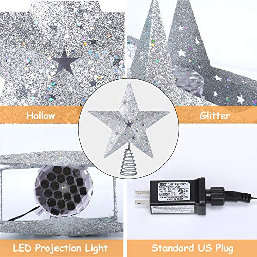 """Christmas Tree Topper Lighted with Bulit-in LED Projector, Shinning Snowflake Rotating Lights Effect, Plug-in Powered 3D Hollow Silver Star Xmas Tree Topper for Christmas Tree Decorations(9.6"""")"""
