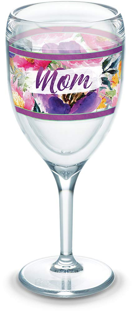 9 oz Stemless Wine Glass Clear Tervis 1319327 Mom Large Blooms Insulated Tumbler with Wrap Tritan