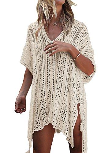 LeaLac Women's Summer Cotton Bathing Suit Cover Up Beach Bikini Swimsuit Swimwear Crochet Dress Gift for Women LXF13 Beige