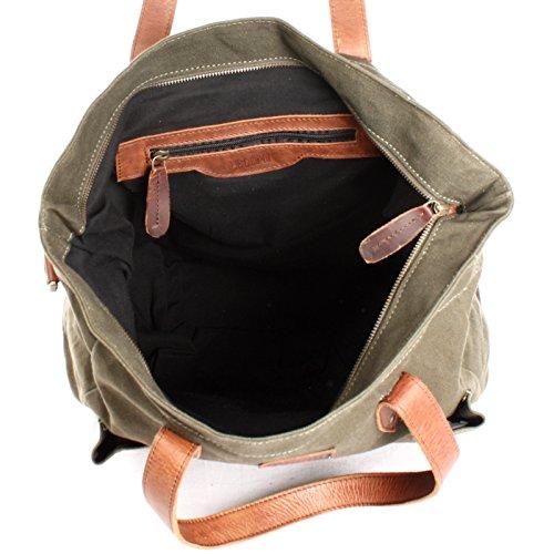 LECONI XL Shopper aus Canvas & Leder Vintage-Style Weekender Umhängetasche große Damen Tasche unisex Schultertasche Handgepäck-Tasche Beuteltasche 35x39x20cm LE0040-C grün / braun ii5Ddcr