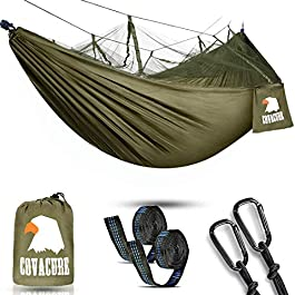 covacure Camping Hammock with Net – Lightweight Double Hammock, Portable Hammocks for Indoor, Outdoor, Hiking, Camping…