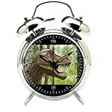 Children's Room Silver Dinosaur Silent Alarm Clock Twin Bell Mute Alarm Clock Quartz Analog Retro Bedside and Desk Clock with Nightlight-256.360_Dino, Animal, Prehistoric Times, Dinosaur, Dangerous