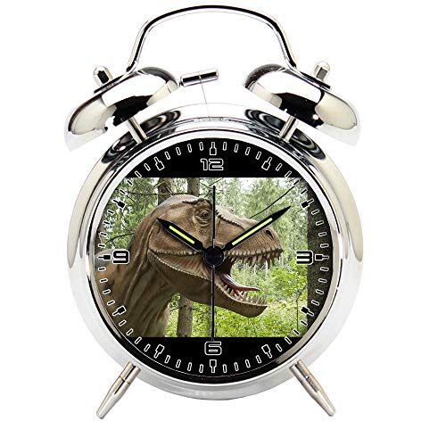 Children's Room Silver Dinosaur Silent Alarm Clock Twin Bell Mute Alarm Clock Quartz Analog Retro Bedside and Desk Clock with Nightlight-256.360_Dino, Animal, Prehistoric Times, Dinosaur, Dangerous by girlsight