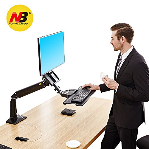 Stand Adjustable Keyboard Tray - North Bayou Sit Stand Desk Converter Height Adjustable Standing Desk Workstation for 22''-35'' Monitor Computer Monitor Mount Arm with Keyboard Tray Black