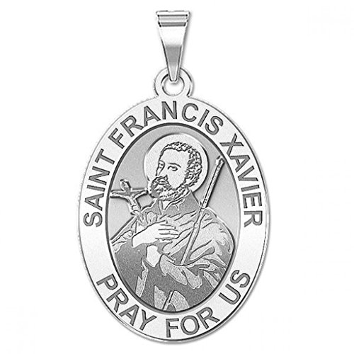 Oval Religious Medal - 1/2 X 2/3 Inch Size of Dime, Solid 14K White Gold ()