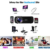 1000 lumens Smart Projector Full HD 1080p Cinema Support TV, HDMI Input, DC, SD Card Slot, USB, VGA Port, AV In, Stereo Jack for Home Cinema Theater, Child Games- Black