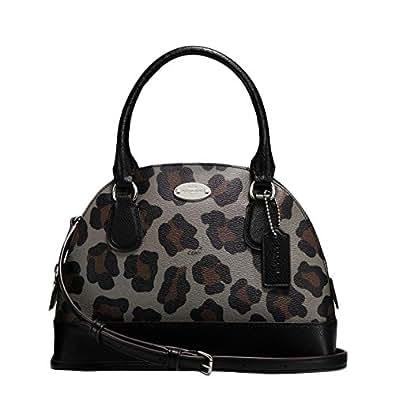 New Authentic COACH Leopard Small Mini Domed Black Multicolor Ocelot Satchel Crossbody Bag