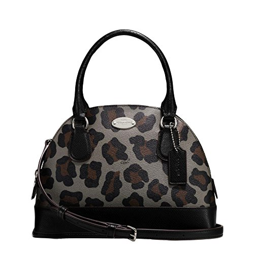 Authentic Coach Mini - New Authentic COACH Leopard Small Mini Domed Black Multicolor Ocelot Satchel Crossbody Bag