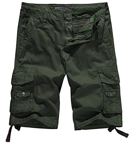 WenVen Men's Big and Tall Cotton Twill Cargo Shorts Outdoor Wear Lightweight (No.4 Army Green,50)