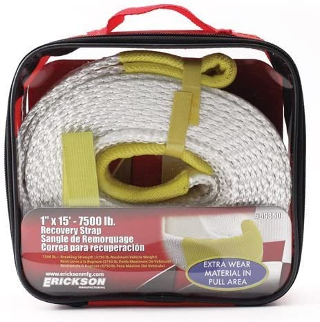 """1"""" X 15' 7500 LB RECOVERY STRAP WITH STORAGE BAG, Manufacturer: ERICKSON, Manufacturer Part Number: 59350-AD, Stock Photo - Actual parts may vary."""