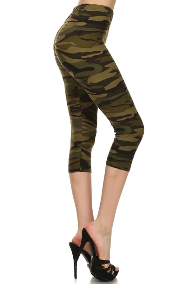 Leggings Depot Capri REG/Plus Women's Buttery Popular Prints BAT1 (Plus Size (Size 12-24), Camouflage Army)
