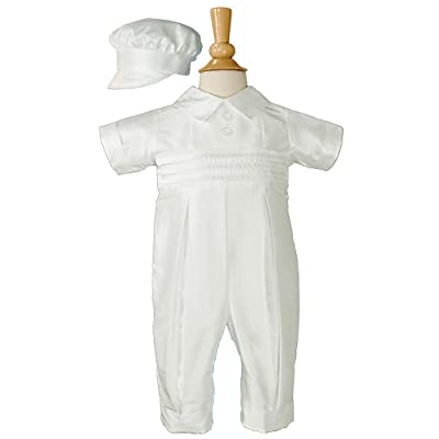 Boys Silk White Christening Coverall