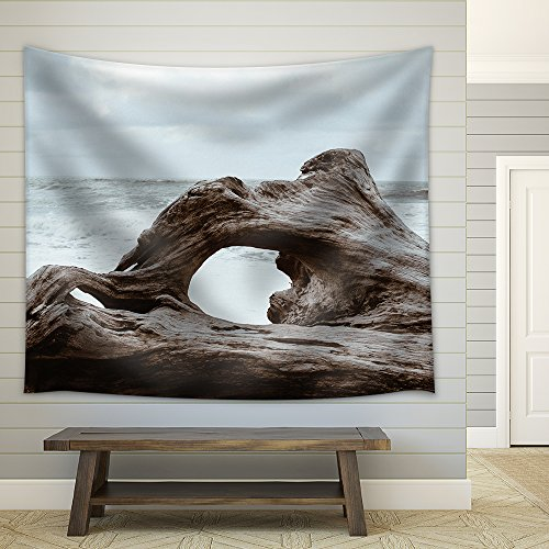 Old Giant Tree Root on the Sea Shore Fabric Wall