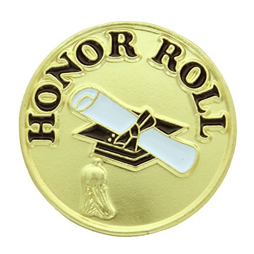 Honor Roll Lapel Pin - 3/4 Inch Honor Roll Lapel Pin - Package of 12, Poly Bagged