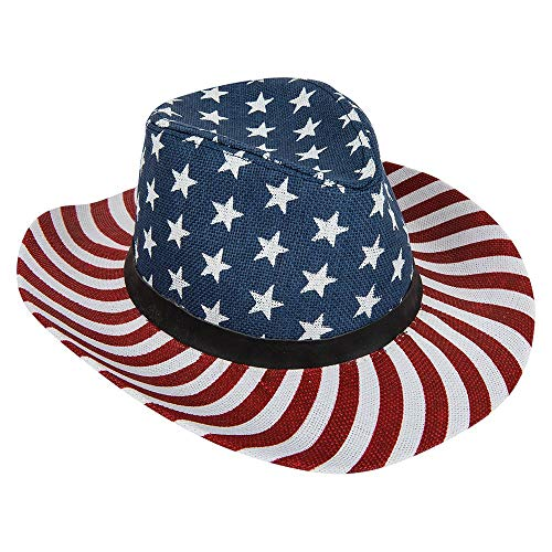 Mozlly Adult Patriotic American Flag Cowboy Hat, Unisex Straw USA Confederate Sombrero Western Costume Accessory for Men Women Children for Fourth of July, Photo Booth Props, United States Costume]()