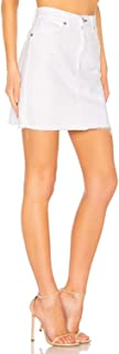 product image for rag & bone Moss Raw Hem White Cotton Twill Denim Mini Skirt - 24