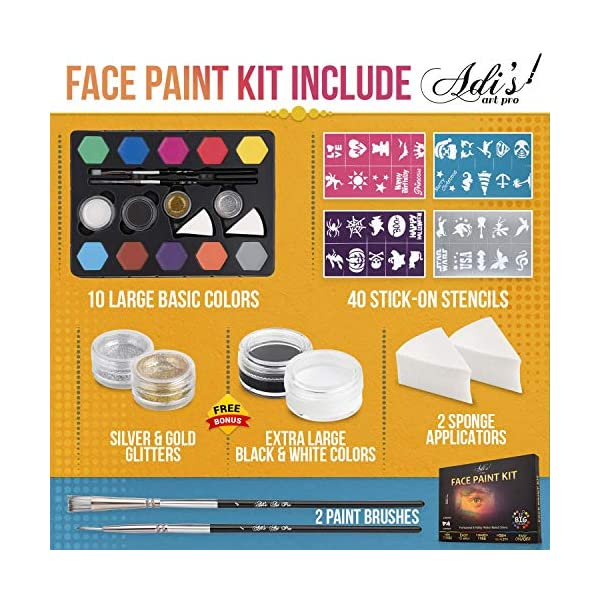 AdisGuys-Face-Paint-Kit-for-Kids-58-pcs-Set-with-Water-Based-Quick-Dry-Non-Toxic-Sensitive-Skin-Paints-Glitters-Sponge-Applicators-Professional-Paint-Brushes-Stencils