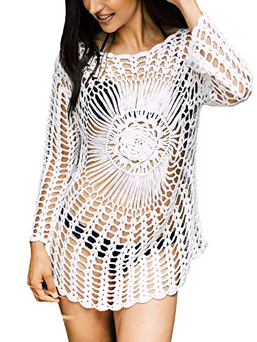 FaroDor Women's Sexy Crochet Knitted Beach Cover Up Hollow Out Beach Mini ()