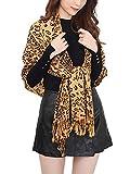 Paskmlna Animal Print Fringed Shoulder Pashmina Wrap Scarf - Leopard Zebra Patterns (Camel Brown Leopard)