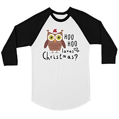 7592d980 365 Printing Hoo Christmas Owl Mens Baseball Shirt Holiday Raglan Tee (X- Large) at Amazon Men's Clothing store: