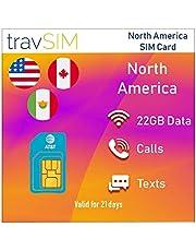 travSIM Prepaid AT&T SIM-kaart voor Noord-Amerika (VS, Canada en Mexico) - 22GB 3G 4G LTE-gegevens Plus *Onbeperkt lokale gesprekken en sms voor 21 dagen