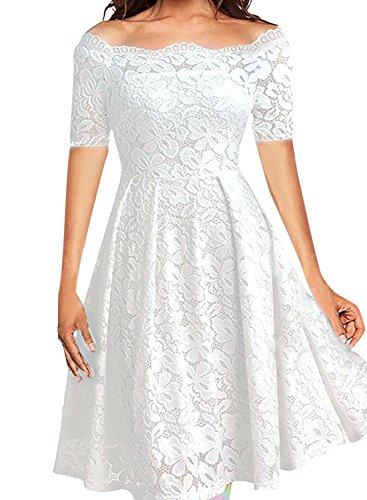 Pig Floral (LITTLEPIG Women's Vintage Floral Lace Long Sleeve Boat Neck Plus Size Dresses Cocktail Formal Swing Dress (XXL, White3))
