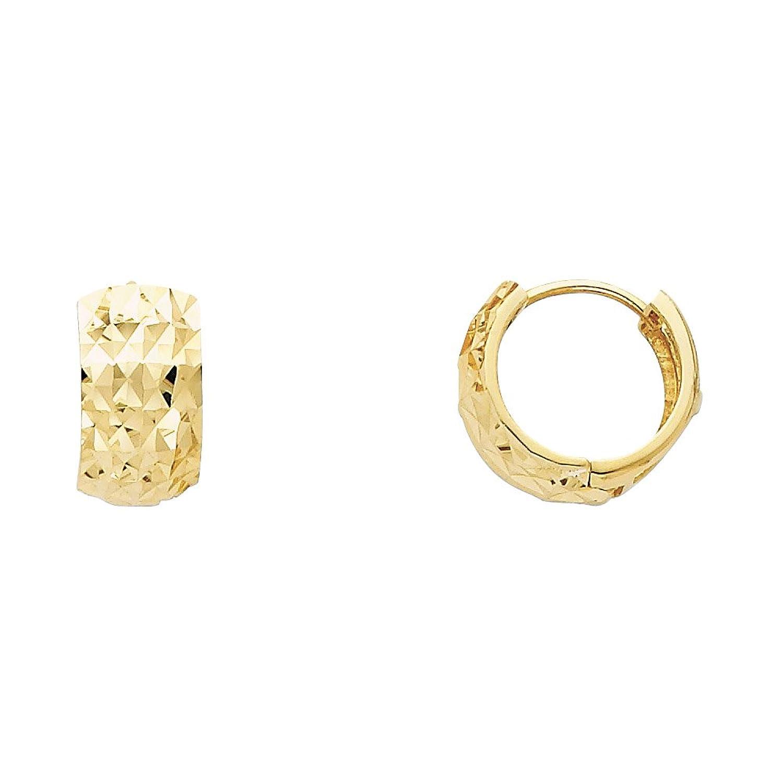 14k Yellow Gold 7mm Thickness Multifaceted Hoop Huggie Earrings
