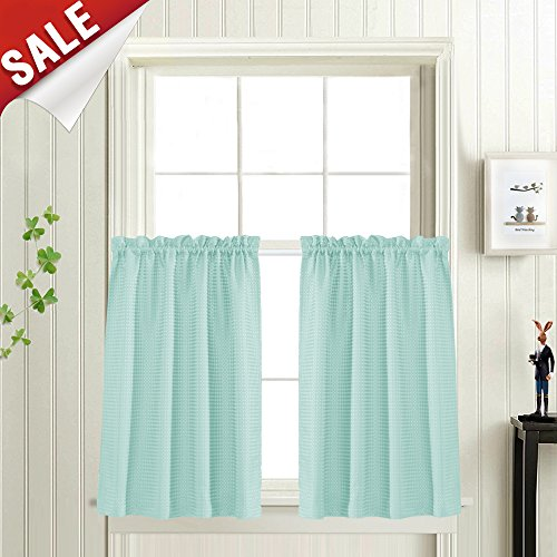 Waffle-Weave Textured Tier Curtains for Kitchen Water-Proof Window Curtains for Bathroom (72-inch x 36-inch, Aqua Blue, Set of Two)