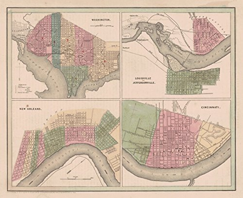 Historic Map | 1841 Washington, Louisville and Jeffersonville, New Orleans, Cincinnati | Bradford, Thomas ()