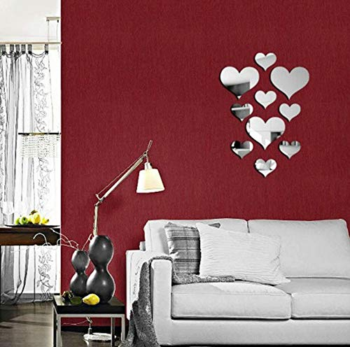 - EDTO 10pcs Love Heart Acrylic 3D Mirror Wall Sticker Mural Decal Removable Stickers Home Decor (Sliver)