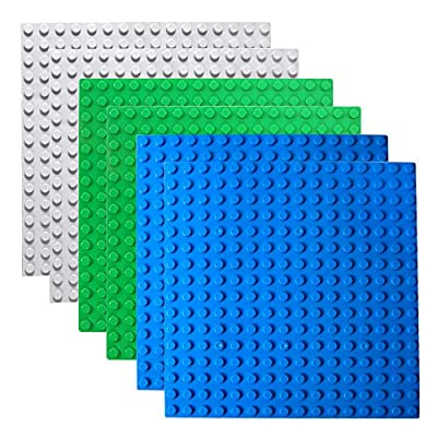 Halann Building Brick Baseplates,6 Pack Building Base Compatible with Duplo, Mega and Others Major Brand Bigger Size Bricks, Building Baseboard in Blue, Green, Gray, 10 x 10 Inch: Home & Kitchen