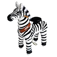 PonyCycle Official Ride-On Zebra No Battery No Electricity Mechanical Horse Toy Giddy up Pony Plush Walking Animal 2 Sizes for Age 3-9 N4012
