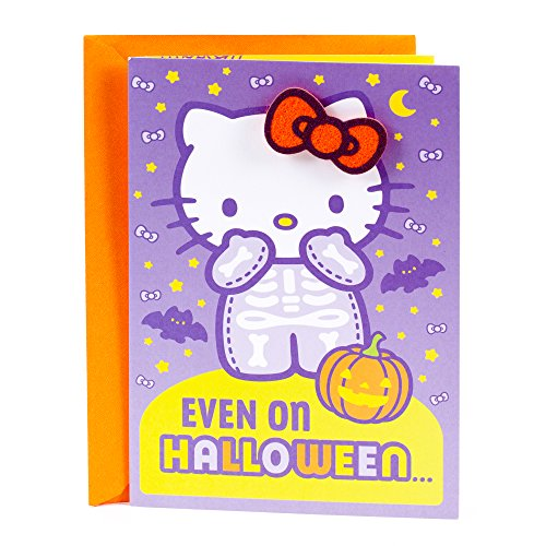 Hallmark Hello Kitty Halloween Card for Girl (with Wearable Hair Barrette) ()