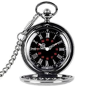 TrifyCore Reloj de Bolsillo de números Romanos con Cadena Regalo de Padres Colgante de Lujo Vintage Negro