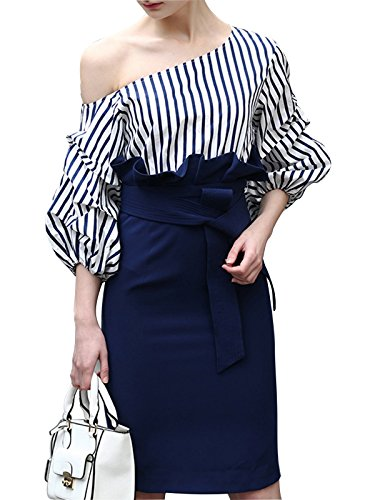 MISSLOOK Women's One Off Shoulder Balloon Sleeve Stripes Bodycon Sheath Dress-Navy Blue 12 - Puff Shoulder Dress