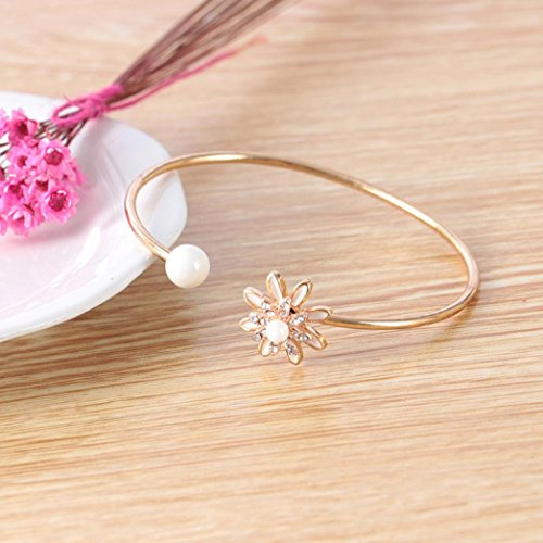 LLguz Simple Women Fashion Alloy Pearl Flower Diamond Bracelet Temperament Opening Adjustable Bracelet Jewelry (Multicolor F)