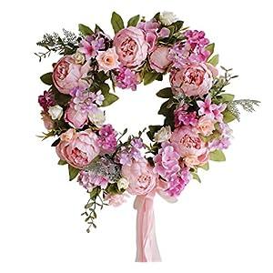 Yokoke Peony Wreath Rose Floral Twig Wreath 16 Inch Handmade Vintage Artificial Flowers Garland Front Door Wreath Beautiful Silk For Spring And Summer Wreath Display 4
