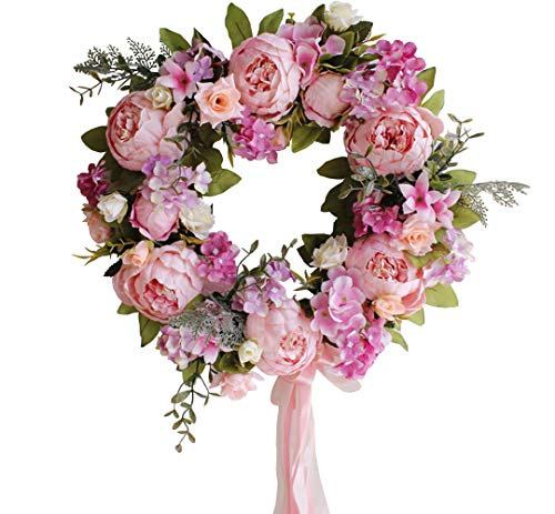 Yokoke Peony Wreath Rose Floral Twig Wreath 16 Inch Handmade Vintage Artificial Flowers Garland Front Door Wreath Beautiful Silk For Spring And Summer Wreath Display (light pink)