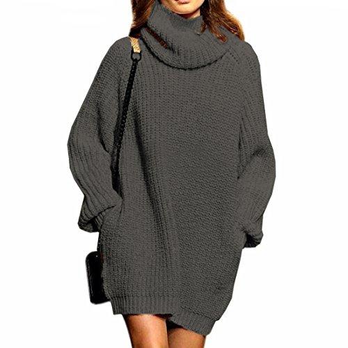 Dresses Cashmere Turtleneck Sweater (Cowlneck Sweater Pullover Dress,Fengtre Women's Cashmere Loose Turtleneck Long Sweater Baggy Tops,Grey M)