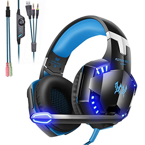 Mengshen Gaming Headset - With Mic, Volume Control and Cool LED Lights - Compatible with PC, Laptop, Smartphone, PS4 and Xbox One Controller, G2000 (Blue)