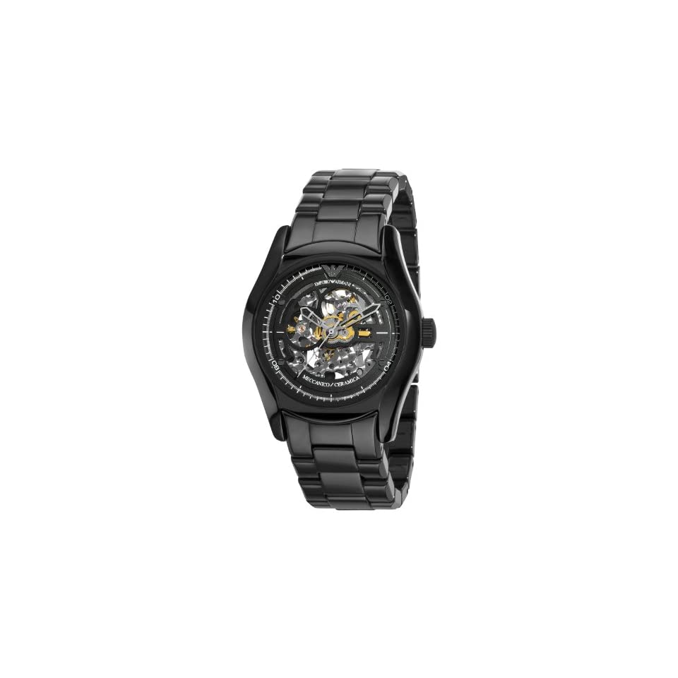 Emporio Armani Mens AR1414 Ceramic Black Skeleton Dial Watch