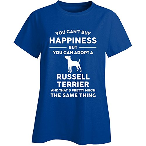(Inked Creatively Can't Buy Happiness Adopt Russell Terrier Ladies T-Shirt)